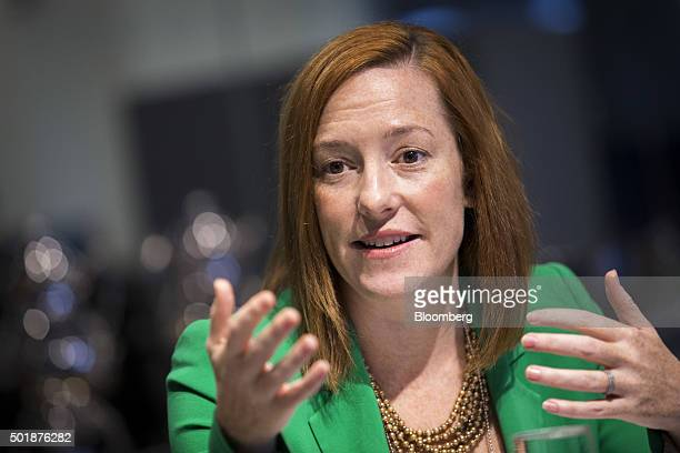 Jen Psaki, director of communications for the White House, speaks during an interview in Washington, D.C., U.S., on Friday, Dec. 18, 2015. Gun...
