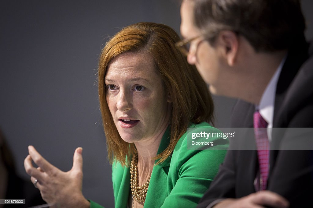 White House Director Of Communications Jen Psaki And U.S. Council of Economic Advisors Chairman Jason Furman Interview : News Photo