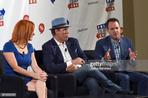 Jen Psaki, Robert Davi, and Adam Housley at the 'LA World Affairs Council Presents: World War 3' panel during Politicon at Pasadena Convention Center...
