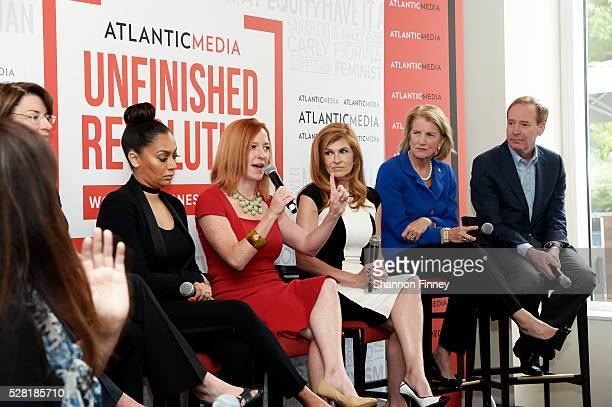 Jen Psaki, White House Communications Director, speaking at the Atlantic Media breakfast on women, fairness and power on April 30, 2016 in...