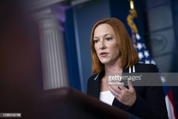Jen Psaki, White House press secretary, speaks during a news conference in the James S. Brady Press Briefing Room at the White House in Washington,...