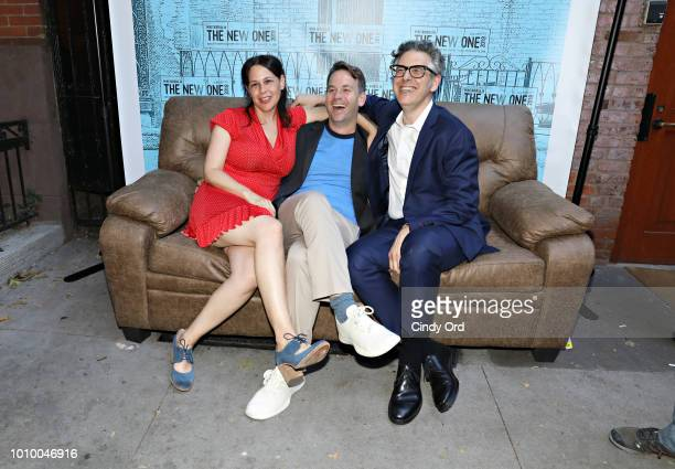 Jen Stein Mike Birbiglia and Ira Glass attend the opening night of Mike Birbiglia The New One at the Cherry Lane Theatre on August 2 2018 in New York...