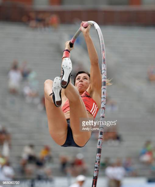 Jen Suhr competes in the Mens Pole Vault during day 4 of the 2018 USATF Outdoor Championships at Drake Stadium on June 24 2018 in Des Moines Iowa