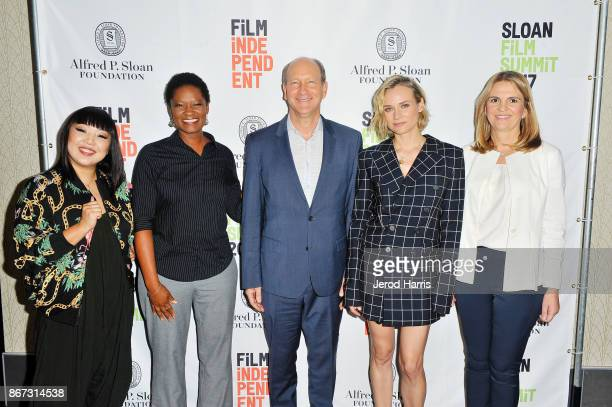Jen Yamato Tracy Drain Vice President of Programs at Alfred P Sloan Foundation Doron Weber Diane Kruger and Danijela Cabric attend Sloan Film Summit...