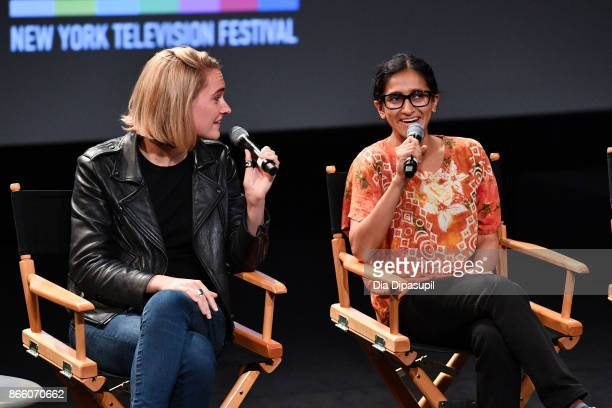 Jena Friedman and Aparna Nancherla attend the 13th annual New York Television Festival Comedy For Change panel 'Comedy as Activism' at SVA Theatre on...