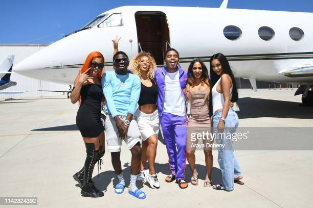Jena Frumes Justin Combs Jodie Joe and guests fly on a private jet with Justin Combs Friends Fly Into Coachella With VOMOS and Cîroc on April 12 2019...