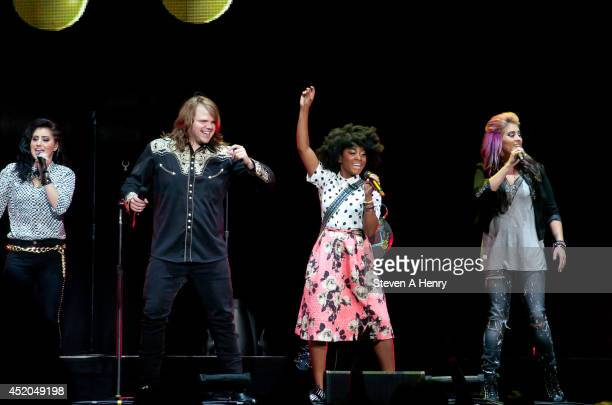 Jena Irene Asciutto Caleb Johnson Majesty Rose and Jessica Meuse perform during the American Idol Live Tour>> at Nassau Veterans Memorial Coliseum on...