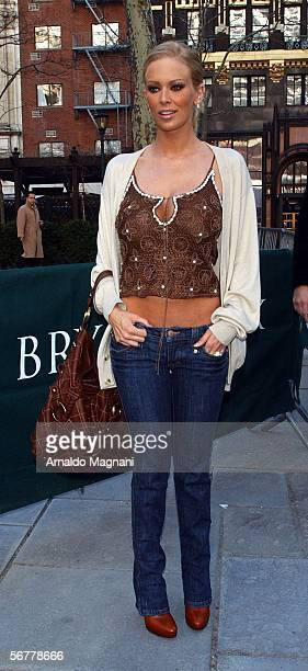 Jena Jameson arrives for the Luca Luca fashion show at Bryant Park February 7 2006 in New York City