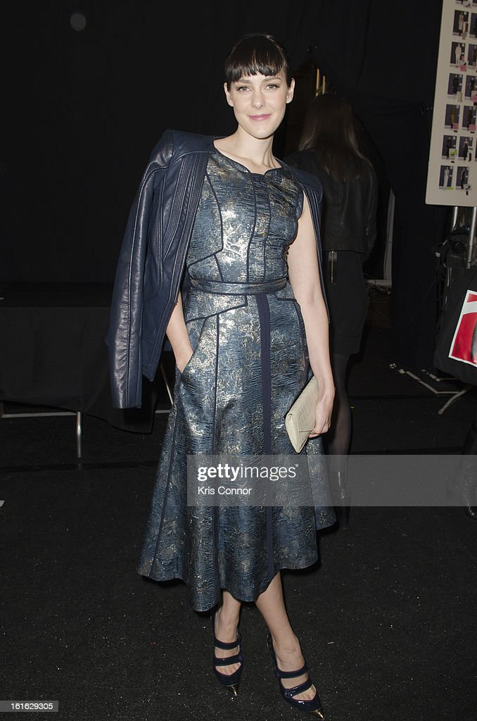 Jena Malone poses during the J. Mendel Fall 2013 Mercedes-Benz Fashion Show at The Theater at Lincoln Center on February 13, 2013 in New York City.