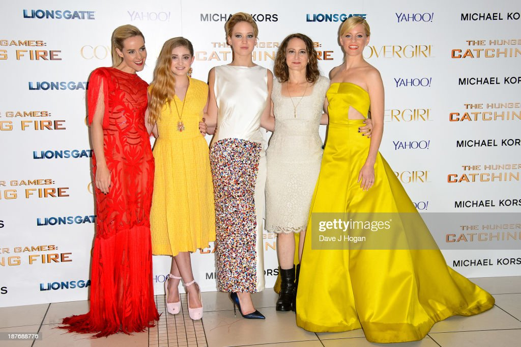 Jena Malone, Willow Shields, Jennifer Lawrence, Nina Jacobson and Elizabeth Banks attends the UK Premiere of 'The Hunger Games: Catching Fire' at Odeon Leicester Square on November 11, 2013 in London, England.