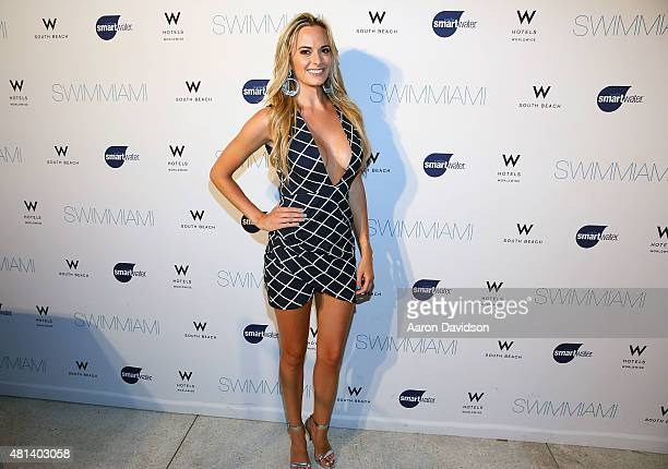 Jena Sims is sighted at Columbia Trend show at W South Beach during Miami Swim Week on July 19 2015 in Miami Beach Florida