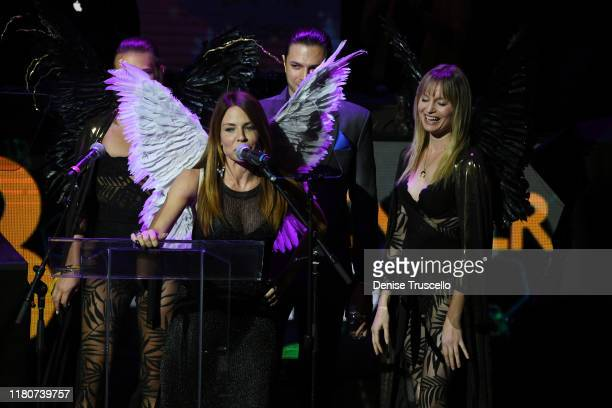 Jenae Alt presents the Ambassador Award at the First Budtender Awards at Light Nightclub at Mandalay Bay Hotel and Casino on October 12 2019 in Las...