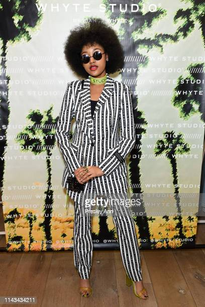 Jenasha Roy attends launch event for Whyte Studio's Festival Capsule Collection at Top Shop at the Grove on April 17 2019 in Los Angeles California