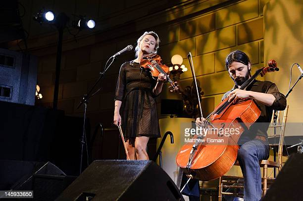 Jenavieve Varga and Drew Anagnost of the folk band Lost in the Trees perform at the 11th Annual Jed Foundation Gala at Gotham Hall on June 7 2012 in...