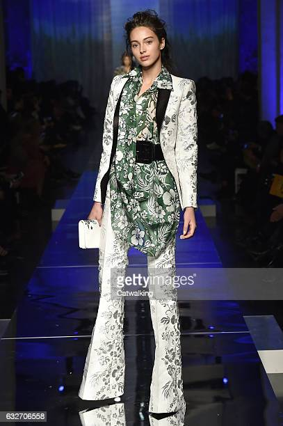 Jenaye Noah walks the runway at the Jean Paul Gaultier Spring Summer 2017 fashion show during Paris Haute Couture Fashion Week on January 25 2017 in...