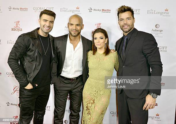 Jencarlos Canela Amaury Nolasco Eva Longoria and Ricky Martin attend the Global Gift Foundation Dinner at Auberge Residences Spa sales office on...