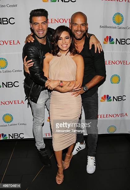 Jencarlos Canela Eva Longoria Amaury Nolasco are seen at the 'Telenovela' Miami screening event Hosted By The Smithsonian at CineBistro Dolphin Mall...