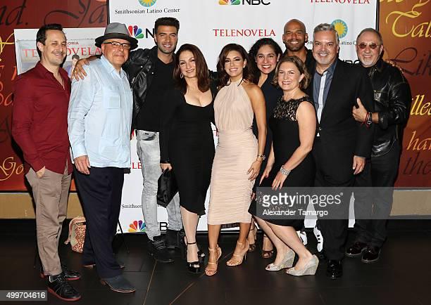 Jencarlos Canela Eva Longoria Gloria Estefan Amaury Nolasco and Emilio Estefan are seen at the 'Telenovela' Miami screening event Hosted By The...