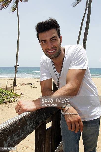 Jencarlos Canela poses for media on the set of his music video shot 'Bajito' at Pinones on June 9 2015 in Loiza Puerto Rico