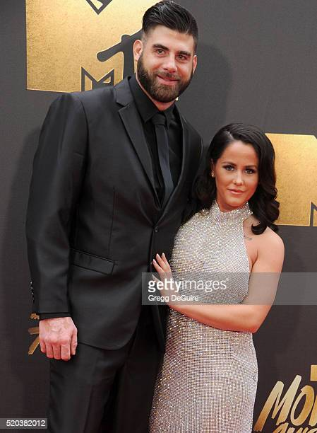 Jenelle Evans and David Eason arrive at the 2016 MTV Movie Awards at Warner Bros Studios on April 9 2016 in Burbank California