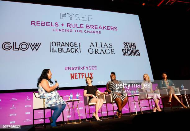 Jenelle Riley Alison Brie Danielle Brooks Sarah Gadon and Regina King speak onstage at the Rebels and Rule Breakers Panel at Netflix FYSEE at Raleigh...