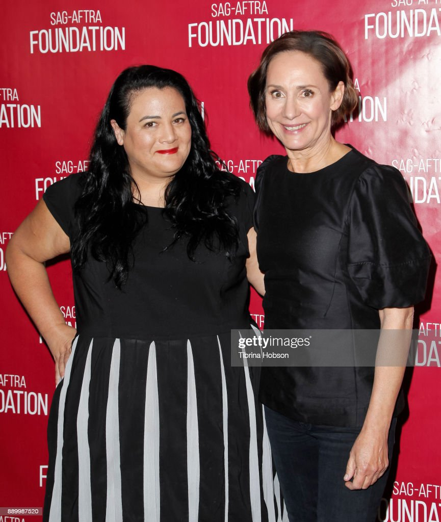 Jenelle Riley and Laurie Metcalf attend SAG-AFTRA Foundation's Conversations program at SAG-AFTRA Foundation Screening Room on December 9, 2017 in Los Angeles, California.