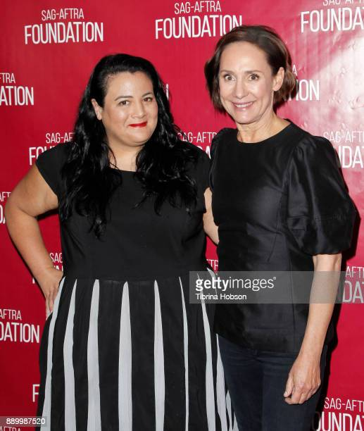 Jenelle Riley and Laurie Metcalf attend SAGAFTRA Foundation's Conversations program at SAGAFTRA Foundation Screening Room on December 9 2017 in Los...