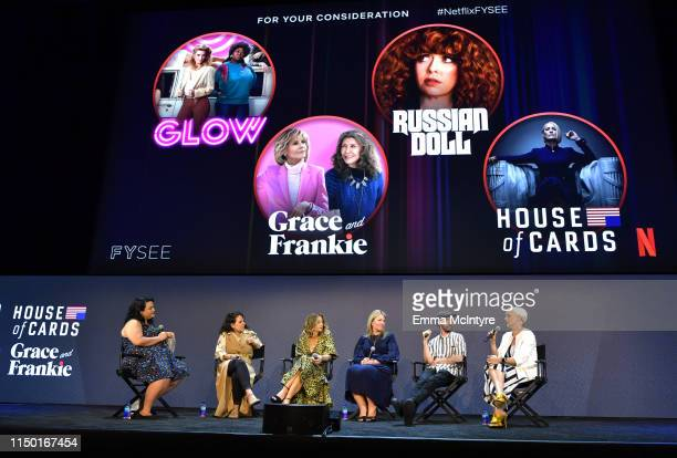 Jenelle Riley Beth Morgan Allyson Fanger Tricia Sawyer Marcel Dagenais and Jennifer Rogien speak onstage at the Netflix FYSEE Craft Day at Raleigh...