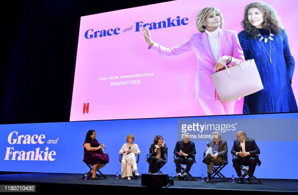 Jenelle Riley Jane Fonda Lily Tomlin Martin Sheen Sam Waterston and Howard Morris speak onstage at the Netflix FYSEE Grace and Frankie ATAS Official...