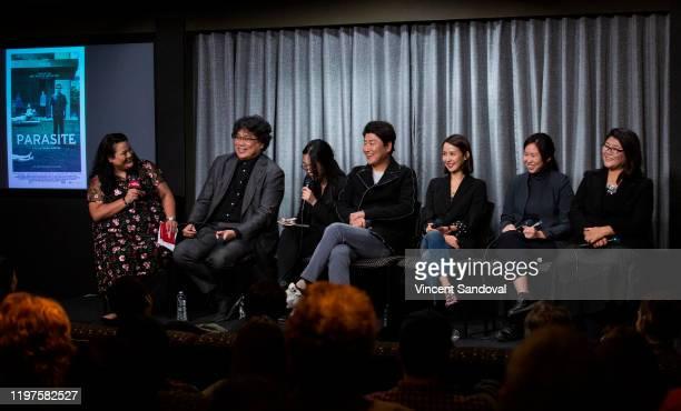 Jenelle Riley of Variety Director Bong Joon Ho Translator Sharon Choi Actors Song Kangho Cho Yeo Jeong Translator Isue Shin and and Actress Lee Jung...