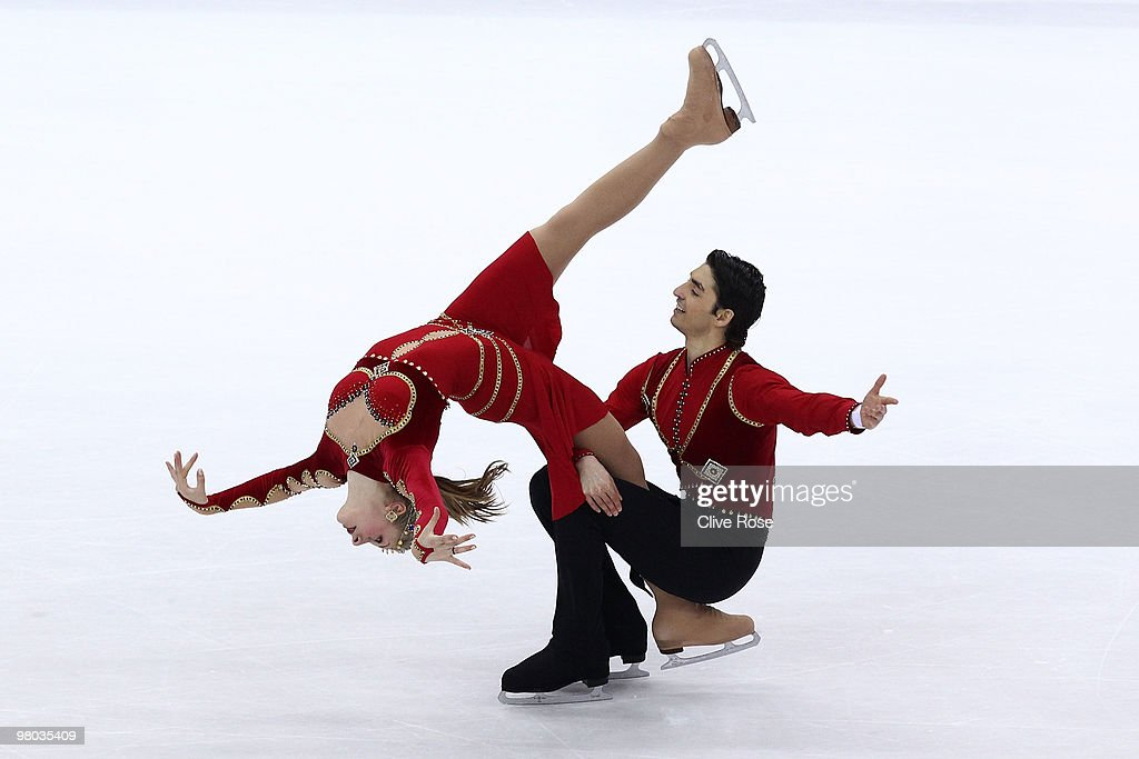 Jenette Maitz and Alper Ucar of Turkey compete in the Ice Dance Original Dance during the 2010 ISU World Figure Skating Championships on March 25, 2010 at the Palevela in Turin, Italy.