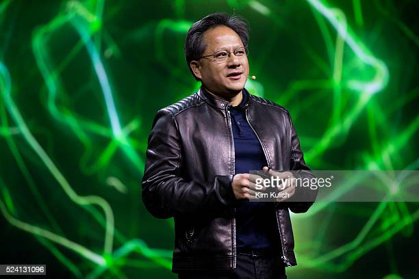 Jen-Hsun Huang, CEO of Nvidia Corp., gives a keynote presentation during the GPU Technology Conference in San Jose, California. Huang later unveiled...