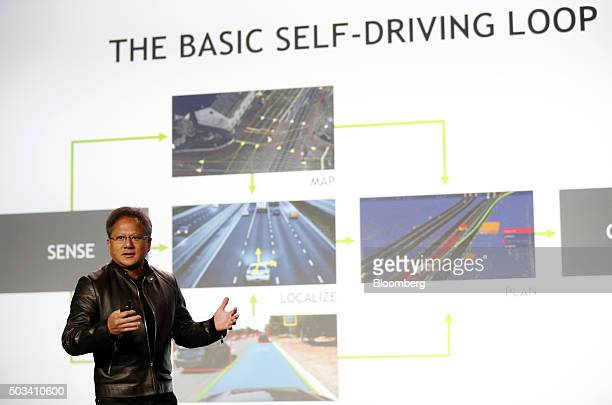 JenHsun Huang chief executive officer of Nvidia Corp speaks during the 2016 Consumer Electronics Show in Las Vegas Nevada US on Monday Jan 4 2016 CES...