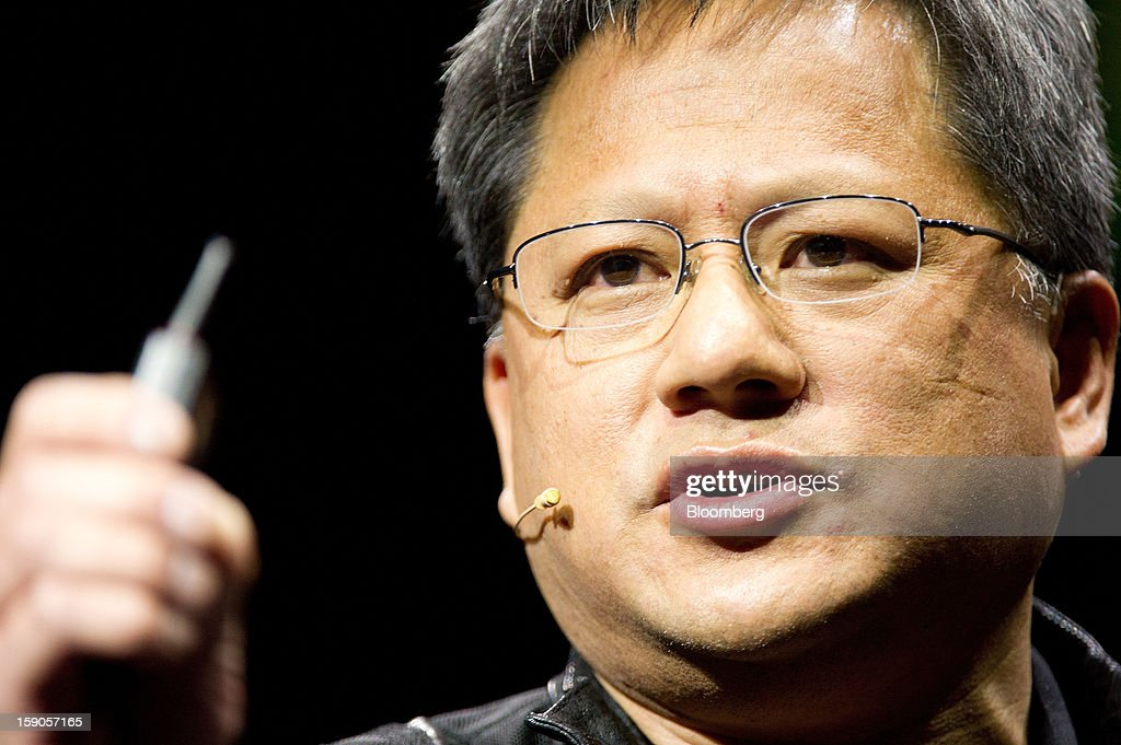 Jen-Hsun Huang, co-founder and chief executive officer of Nvidia Corp., speaks during a news conference prior to the 2013 Consumer Electronic Show in Las Vegas, Nevada, U.S., on Sunday, Jan. 6, 2013. The 2013 CES trade show, which runs until Jan. 11, is the world's largest annual innovation event that offers an array of entrepreneur focused exhibits, events and conference sessions for technology entrepreneurs. Photographer: David Paul Morris/Bloomberg via Getty Images