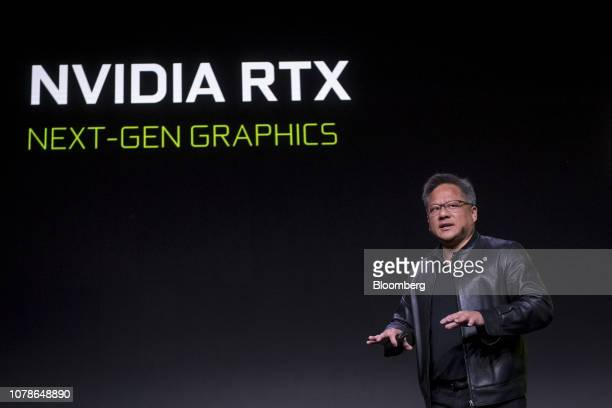 Jen-Hsun Huang, president and chief executive officer of Nvidia Corp., speaks during the company's event at the 2019 Consumer Electronics Show in Las...