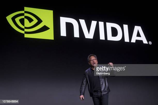 Jen-Hsun Huang, president and chief executive officer of Nvidia Corp., gestures as he speaks during the company's event at the 2019 Consumer...