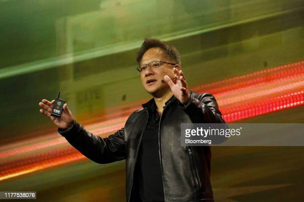 Jen-Hsun Huang, president and chief executive officer of Nvidia Corp., speaks during the company's event at Mobile World Congress Americas in Los...