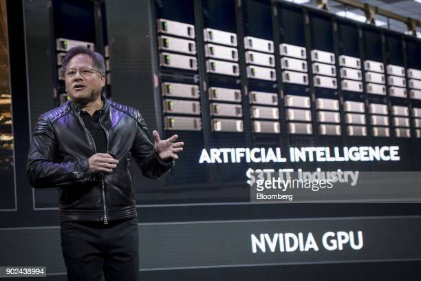 JenHsun Huang president and chief executive officer of Nvidia Corp speaks during an event at the 2018 Consumer Electronics Show in Las Vegas Nevada...