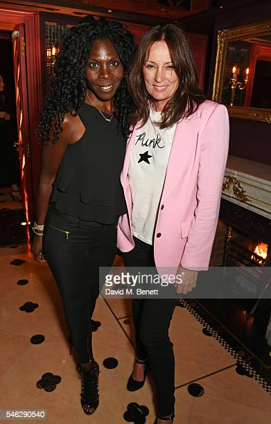 Jeni Cook and Tricia Ronane pose in Club Chinois at a party to celebrate Pam Hogg's honorary doctorate from Glasgow University in association with...