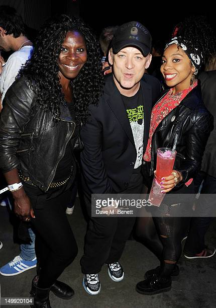 Jeni Cook Boy George and Hollie Cook attend as The Stone Roses perform a secret gig at adidas Underground on August 6 2012 in London England