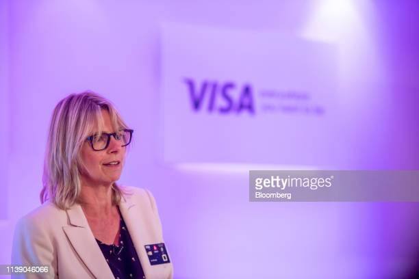 Jeni Mundy regional managing director for Visa Inc speaks during the launch of the National Westminster Bank Plc biometric debit card in London UK on...
