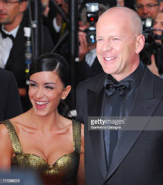 Jenifer Bartoli and Bruce Willis during 2006 Cannes Film Festival Over The Hedge Premiere at Palais des Festival in Cannes France