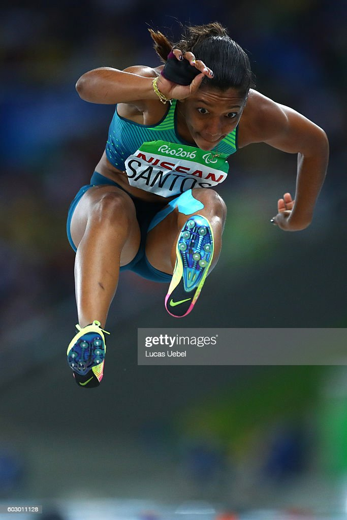 Jenifer Santos of Brazil competes in the Women's Long Jump - T38 Final on day 4 of the Rio 2016 Paralympic Games at Olympic Stadium on September 11, 2016 in Rio de Janeiro, Brazil.
