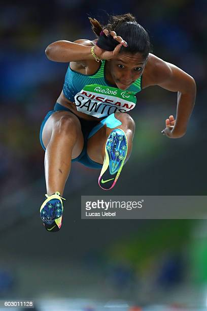 Jenifer Santos of Brazil competes in the Women's Long Jump T38 Final on day 4 of the Rio 2016 Paralympic Games at Olympic Stadium on September 11...