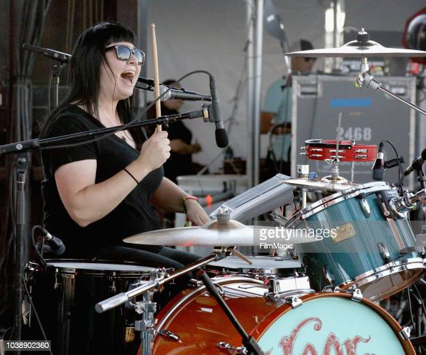 Jenine Cali of The Dirty Hooks performs on Huntridge Stage during the 2018 Life Is Beautiful Festival on September 23 2018 in Las Vegas Nevada