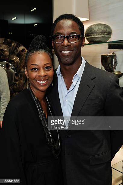Jenisa and Isaiah Washington attend the Opal Stone Luxury Handbags And Fine Jewelry Launch at Gray Gallery on December 8 2011 in Beverly Hills...