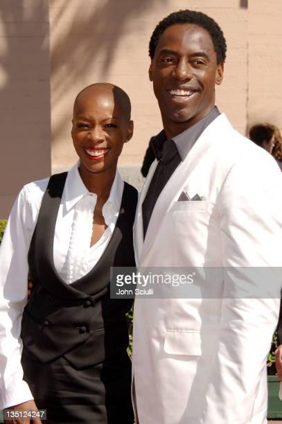 Jenisa Marie Washington and Isaiah Washington during 58th Annual Creative Arts Emmy Awards Arrivals at Shrine Auditorium in Los Angeles California...