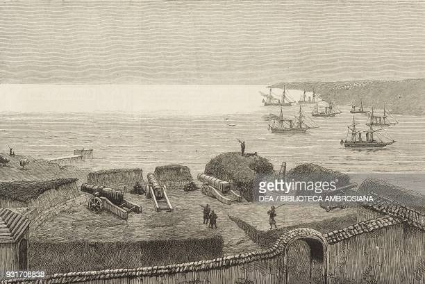 JeniTabia one of the entrenchments of the town with the Egyptian fleet at anchor Varna Bulgaria RussoTurkish War illustration from the magazine The...
