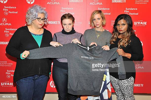 Jenji Kohan Lena Dunham Kristen Wiig and Mindy Kaling appear at the Power Of Story Panel Serious Ladies during the 2015 Sundance Film Festival at the...