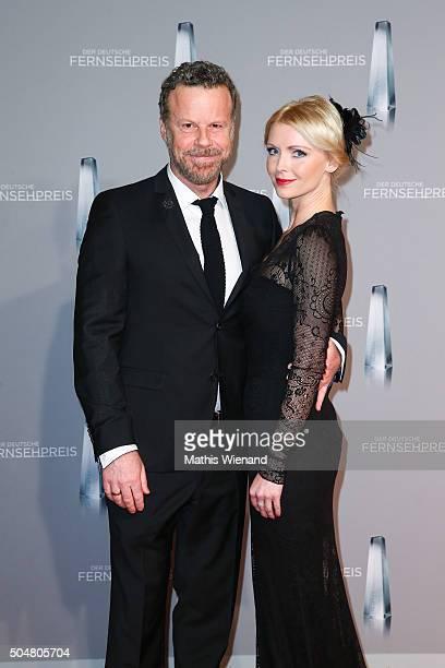 Jenke von Wilmsdorff and Mia Bergmann attend the German Television Award at Rheinterrasse on January 13 2016 in Duesseldorf Germany